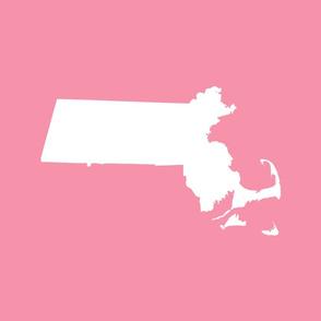 "Massachusetts silhouettes - 21x18"" white on pink"