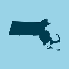 "Massachusetts silhouettes - 21x18"" navy on light blue"