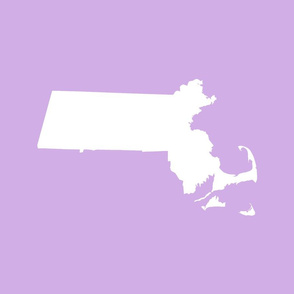 "Massachusetts silhouettes - 21x18"" white on lilac"