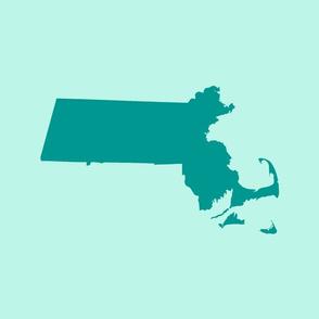 "Massachusetts silhouettes - 21x18"" teal on aqua"