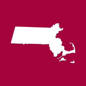 "Massachusetts silhouettes - 21x18"" white on cranberry"
