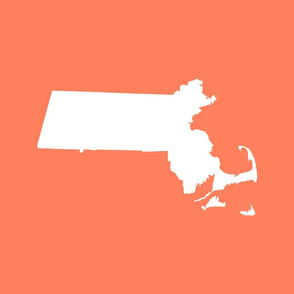"""Massachusetts silhouettes - 21x18"""" white on coral"""