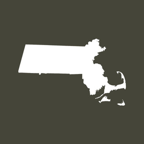 "Massachusetts silhouettes - 21x18"" white on khaki"