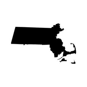 "Massachusetts silhouettes - 21x18"" black and white"