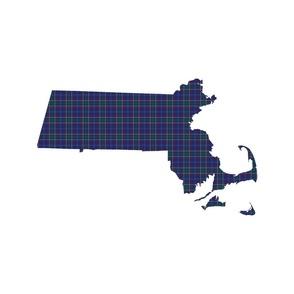 """Massachusetts silhouettes - 21x18"""" tartan on white"""