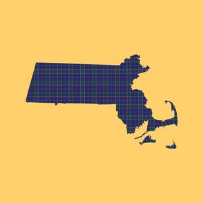 """Massachusetts silhouettes - 21x18"""" tartan on yellow"""