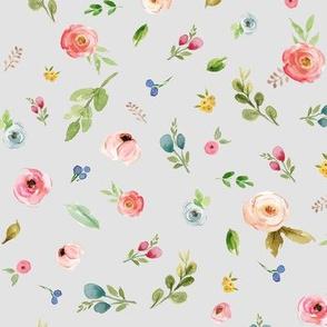 Pretty Woodland Wild Flowers on soft grey