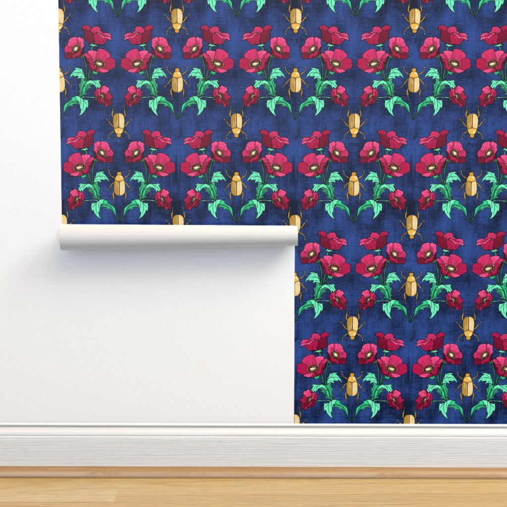 Isobar Durable Wallpaper featuring Gold Beetle + Poppy Blue by pond_ripple