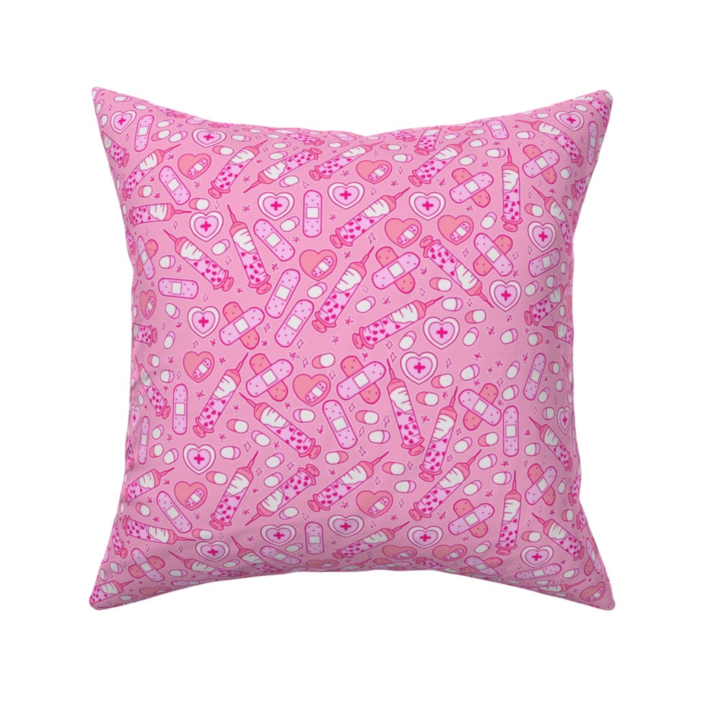 Catalan Throw Pillow featuring Pink Medium Nurse Repeat with Syringes and Bandages by noeldraws