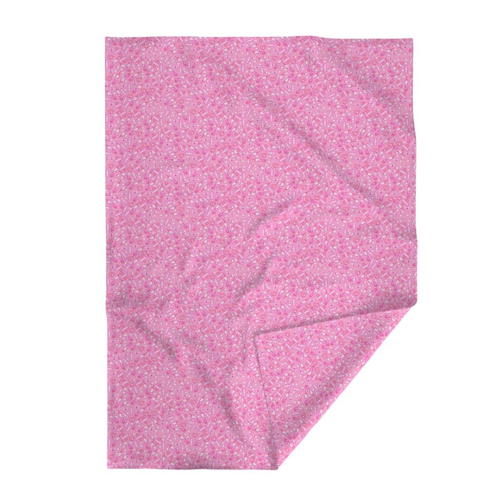 Lakenvelder Throw Blanket featuring Pink Medium Nurse Repeat with Syringes and Bandages by noeldraws