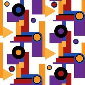 Bauhaus shapes bold colors Wallpaper Fabric