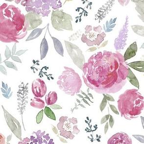 Portia Watercolour Floral on white MEDIUM