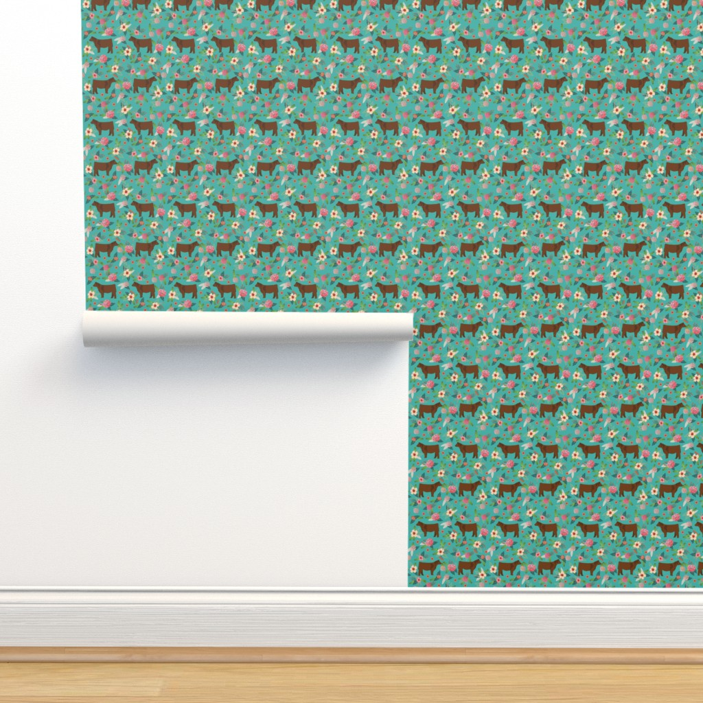 Isobar Durable Wallpaper featuring angus cattle red farm cow fabric green by petfriendly