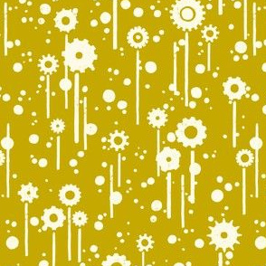 Gear flowers, cream on gold