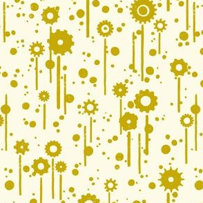 Gear flowers, gold on cream