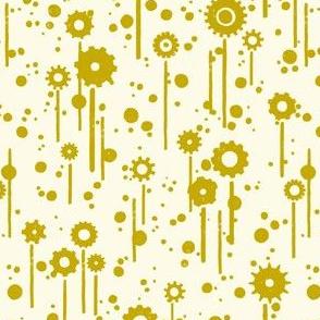 Gear flowers, gold on cream