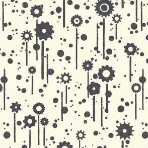 Gear flowers, grey on cream