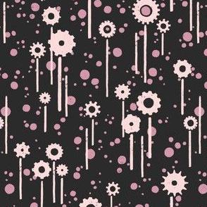 Gear flowers, lilac on black