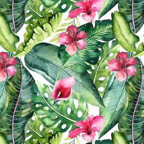 Watercolor tropic jungle seamless summer pattern background with tropical palm monstera leaves and exotic  hibiscus