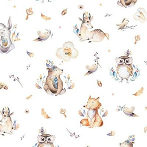 Cute forest party. Watercolor baby animals 3