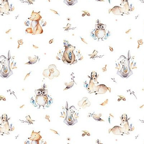 Cute forest party. Watercolor baby animals 6