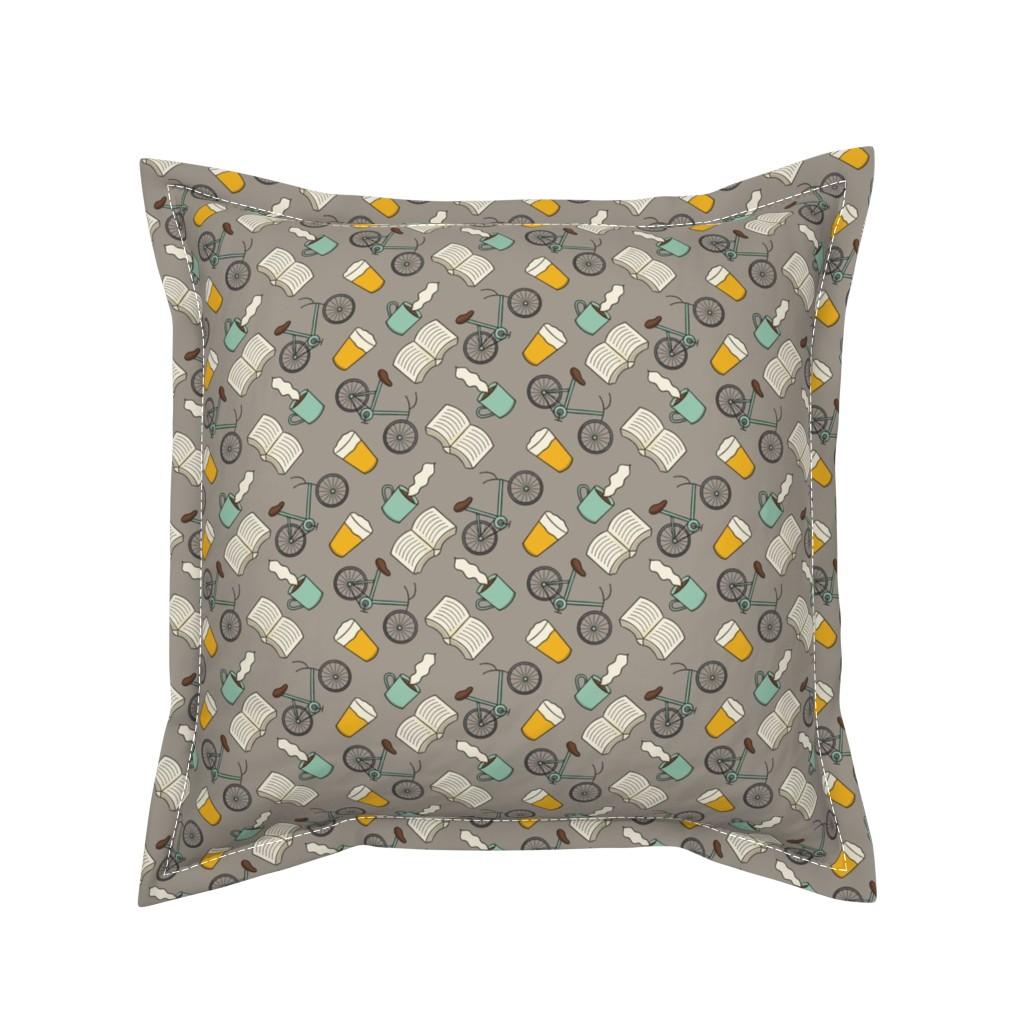Serama Throw Pillow featuring Coffee Books Bikes and Beer by tamara_lance