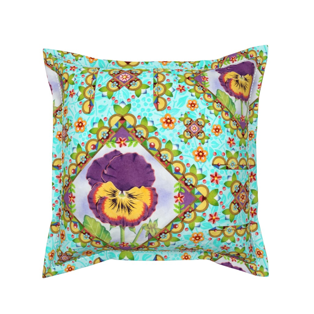 Serama Throw Pillow featuring Purple Pansy Cottage Garden by patriciasheadesigns