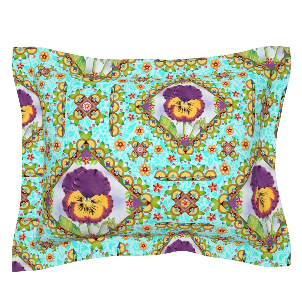 Sebright Pillow Sham featuring Purple Pansy Cottage Garden by patriciasheadesigns