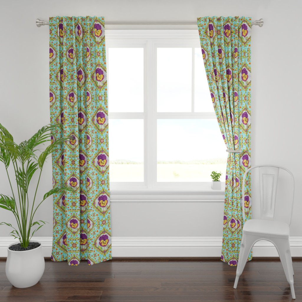 Plymouth Curtain Panel featuring Purple Pansy Cottage Garden by patriciasheadesigns