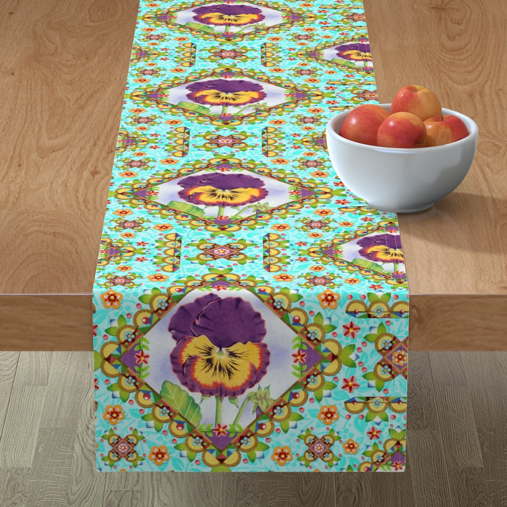 Minorca Table Runner featuring Purple Pansy Cottage Garden by patriciasheadesigns