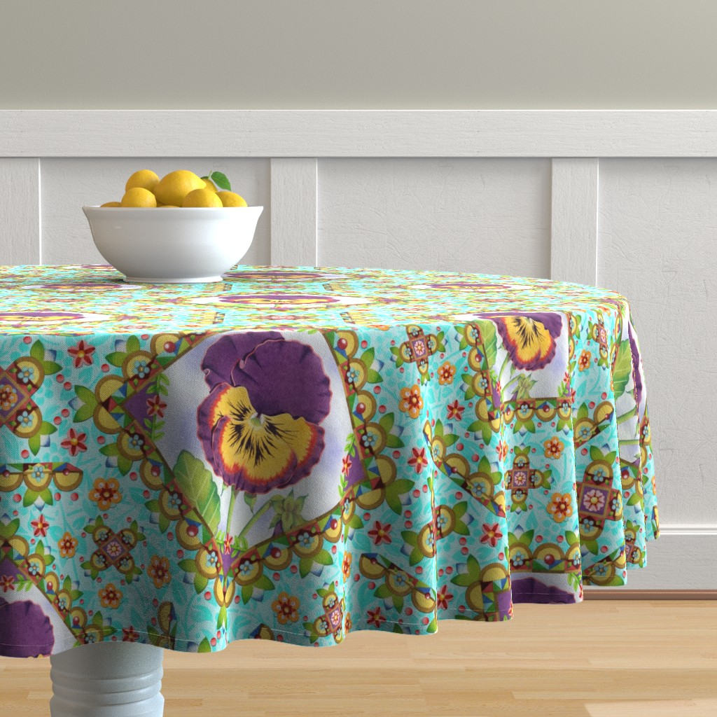 Malay Round Tablecloth featuring Purple Pansy Cottage Garden by patriciasheadesigns