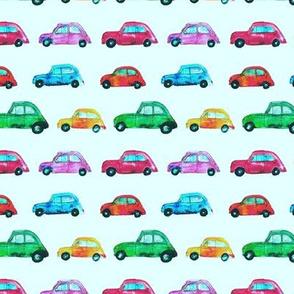 Watercolor cars on mint || pattern for nursery, boys