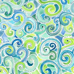 Swirly Watercolor Blues & Greens
