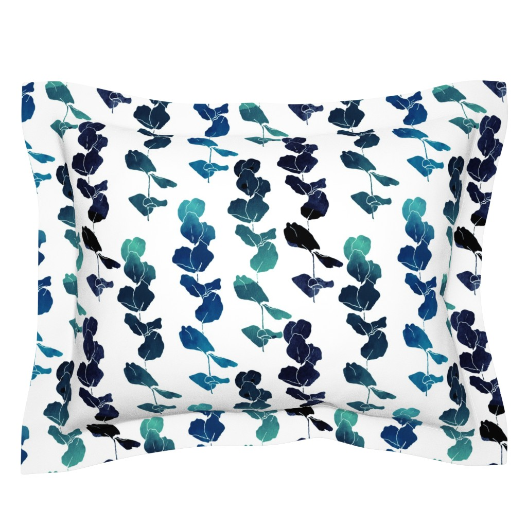 Sebright Pillow Sham featuring Eucalyptus navy by fat_bird_designs