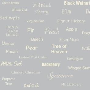 Tree Names (Cream on Gray)