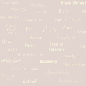 Tree Names (Cream on Blush)