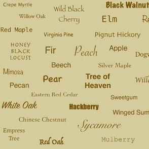 Tree Names (Sienna on Ecru)