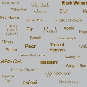 Tree Names (Burnt Sienna on Gray)