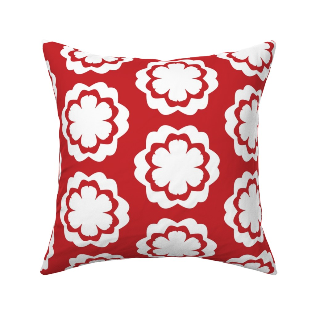 Catalan Throw Pillow featuring Chinese Red and White Flower Pattern by another_village
