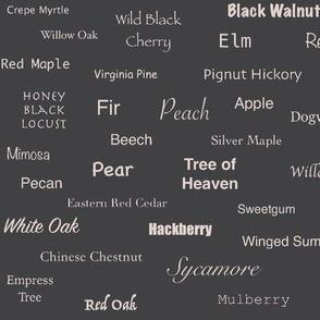 Tree Names (Blush on Charcoal)