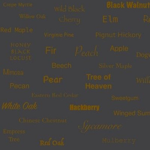 Tree Names (Sienna on Charcoal)