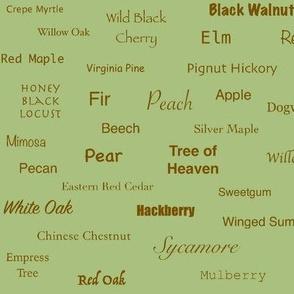 Tree Names (Sienna on Green)