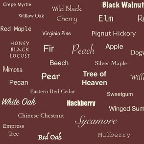 Tree Names (Cream on Burnt Sienna)