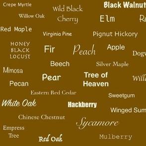 Tree Names (Cream on Umber)