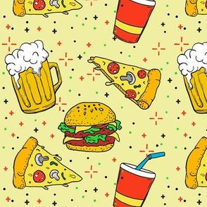 fastfood - beer, pizza, burger