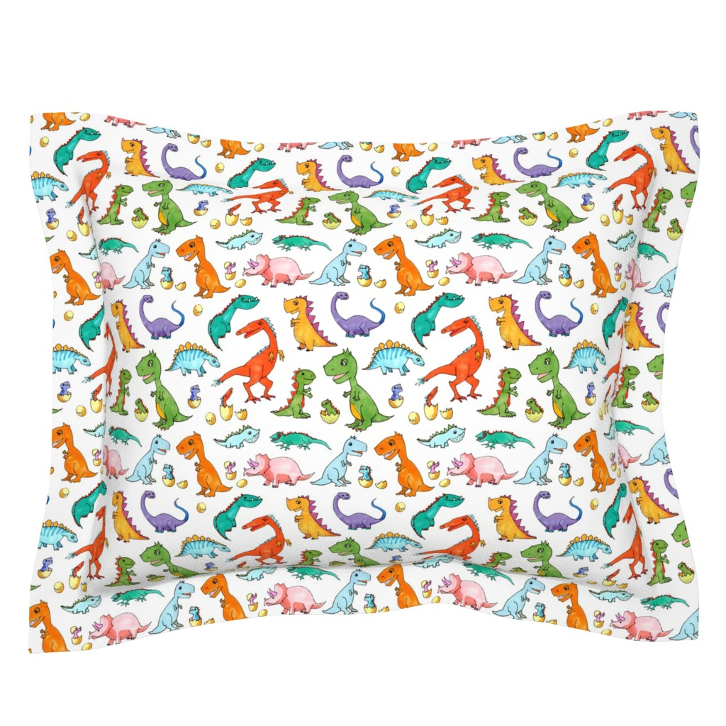 Sebright Pillow Sham featuring Dino Families by lucy_&_me