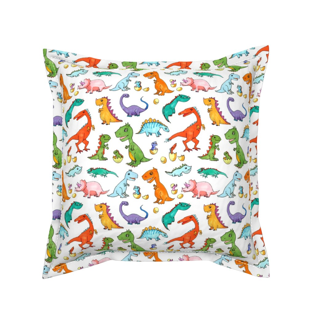Serama Throw Pillow featuring Dino Families by lucy_&_me
