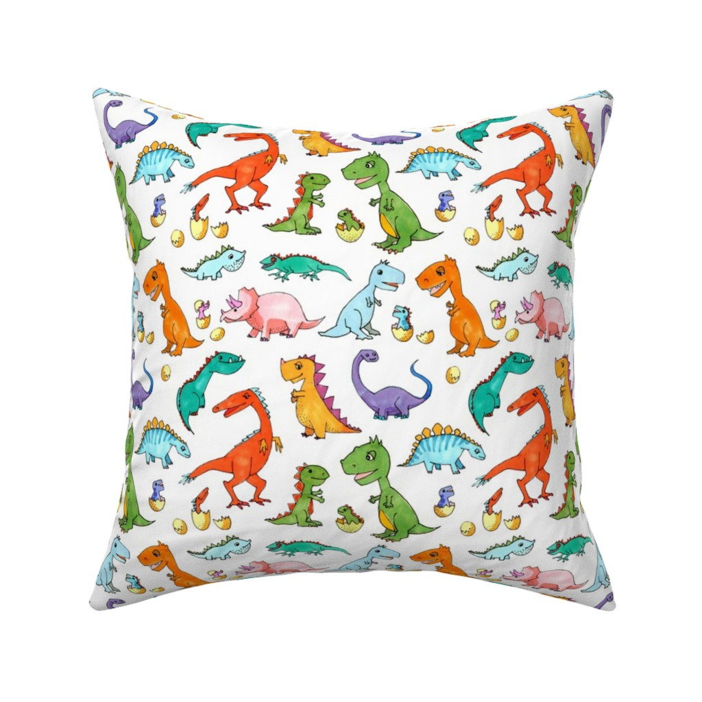 Catalan Throw Pillow featuring Dino Families by lucy_&_me
