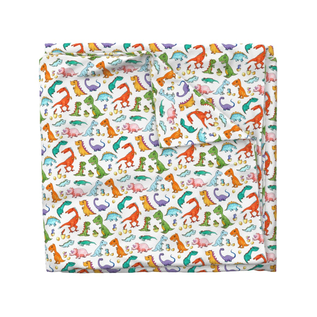 Wyandotte Duvet Cover featuring Dino Families by lucy_&_me