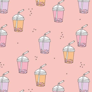 Bubble tea Japanese kawaii trend pastel cups to go pink peach